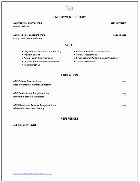 Entry Level Dental Assistant Resume Lovely Over Cv And Resume Samples With Free Download Medical Assistant Resume Medical Resume Medical Assistant Cover Letter