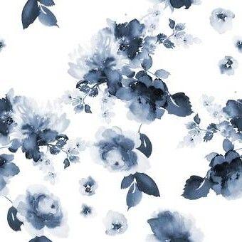 Tia Peel And Stick Wallpaper Tile In 2020 Blue Flower Wallpaper Watercolor Flowers Pattern Blue Floral Wallpaper