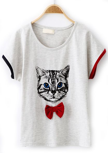 Light Grey Short Sleeve Cat Print Bow T-Shirt - Sheinside.com