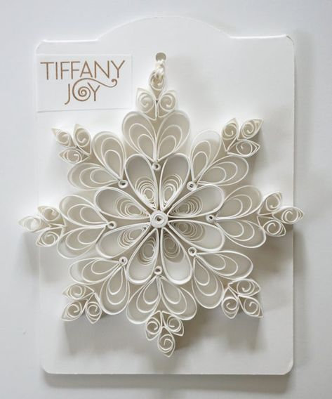White Paper Quilled Snowflake Ornament image 1