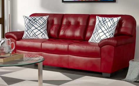 8 Red Faux Leather Sofa Options That Make a Statement - 2018 | Faux ...