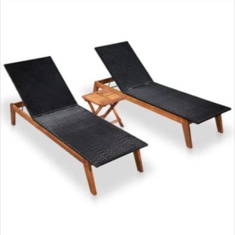 Lot 2 Chaises Longues Acacia Et Ra C Sine Tressa C E Table Cielterre Commerce In 2020 Sun Lounger Reclining Sun Lounger Lounge Chair Outdoor