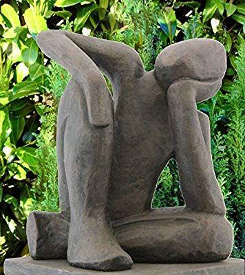 Amazon De Tiefes Kunsthandwerk Steinfigur Traumer In Dunkelbraun Abstrakte Deko Figur Fur Haus Und Kunst Skulpturen Keramikskulptur Skulpturen
