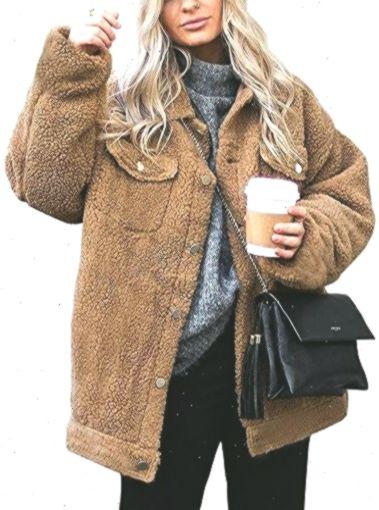 ECOWISH Damen Mantel Revers Faux F/ür Lose Langarm Outwear Tasche Rei/ßverschluss Winterjacke Mode Kurz Coat
