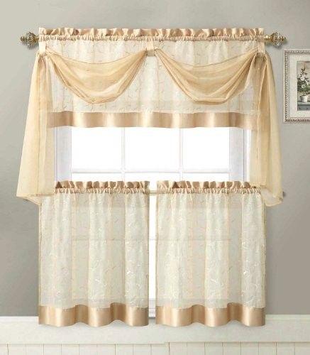 Linen Leaf 4 Piece Kitchen Curtain Set By Victoria Classics Gold
