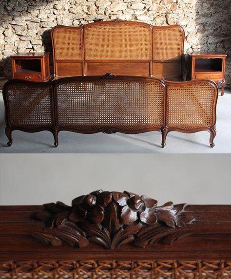 łóżko Francuskie Z Rafią I 2 Szafki Nocne Antyk Wnętrza