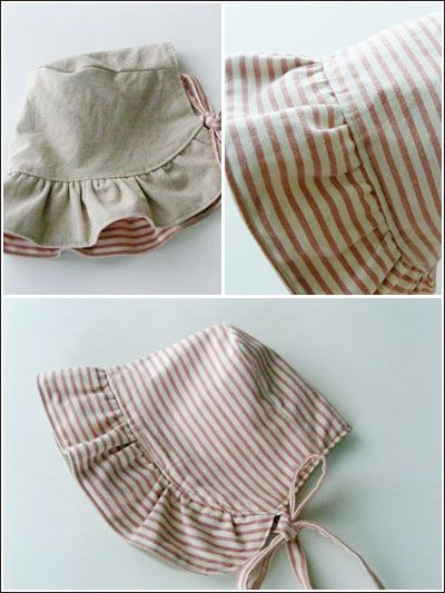 Sewing - Reversible bonnet can be flipped over and worn on either side! It's great for outdoor walks for the baby. Easy to make, it's a perfect gift for a special little girl! Size: Includes 3 months through Skill Level: Beginner -Sewing - Patterns for Ch Baby Sewing Projects, Sewing For Kids, Sewing Ideas, Sewing Crafts, Couture Bb, Couture Sewing, Baby Bonnets, Heirloom Sewing, Baby Patterns