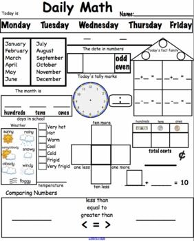 Daily Math Worksheets Common Core Aligned For Smart Math Meeting Math Meeting Daily Math Math Worksheets