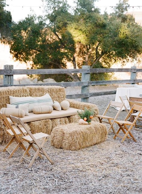 Our editors say think beyond traditional seating and wow guests with an unexpected set-up. Here are our nine favorite seating ideas for a wedding ceremony and reception. Hay Bale Seating, Ceremony Seating, Outdoor Ceremony, Outdoor Wedding Seating, Wedding Reception, Wedding Aisles, Wedding Lounge, Wedding Backdrops, Lounge Seating