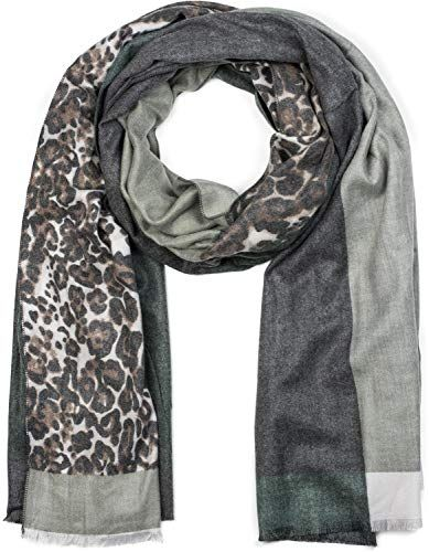 styleBREAKER Châle pour femme avec motif léopard et trois parties colorées  écharpe d hiver étole foulard 01017101 couleur Bleu-gris… 113c9016147