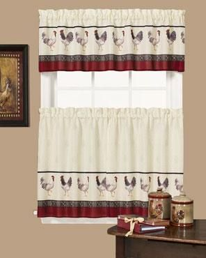 Cafe Francais Country Rooster Kitchen Valance And Tier Curtains