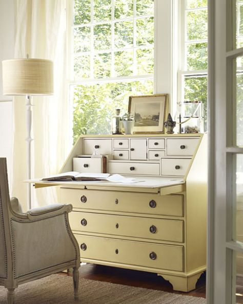 beautiful pale yellow monterey bureau desk