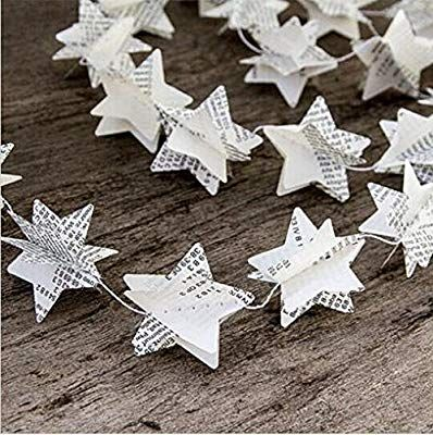 Amazon.com: Since Pack of 4 Book Pages Recycled Book Garland Newspaper Star Garland Bunting Party Holiday Christmas Nursery Banner Wedding Garland Decor: Kitchen  Dining