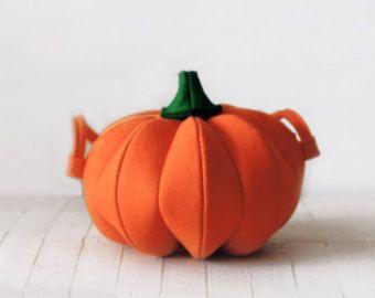 Halloween Pumpkin Orange Felt Bag