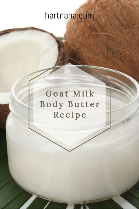 Nothing goes with goats milk soap like goats milk body butter! Use this easy DIY body butter recipe to create your own whipped body butter with stuff you can grab at the local grocery store. #hartnana #bodybutterrecipe #DIYcraft