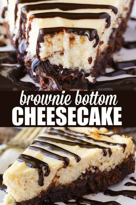 Brownie Bottom Cheesecake - So easy to make that you'll feel like you are cheating! Enjoy the rich chocolate brownie bottom layer topped with a creamy and sweet cheesecake filling. Use a brownie mix to save on time! likes Brownie Bottom Cheesecake Chocolate Cheesecake Recipes, Brownie Desserts, Easy Cheesecake Recipes, Cheesecake Desserts, Easy Cookie Recipes, Mini Desserts, Sweet Recipes, Good Dessert Recipes, Easy Fun Desserts