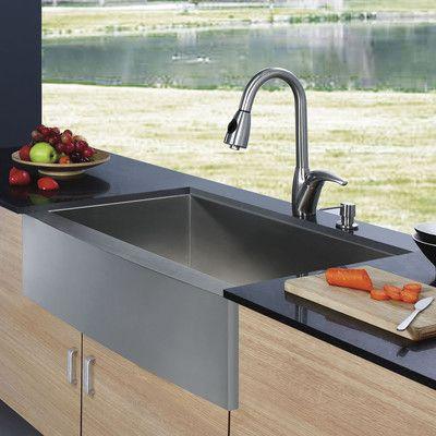 Vigo 33 L X 22 25 W Farmhouse Apron Kitchen Sink With Faucet