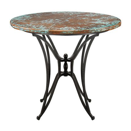 38 Inch Round Table.An Arhaus Signature Collection The Copper Verdigris 38 Round Table