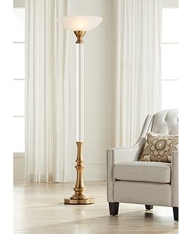 Rolland Warm Antique Brass And Crystal Torchiere Floor Lamp 66e43 Lamps Plus In 2020 Torchiere Floor Lamp Floor Lamp Styles Floor Lamp