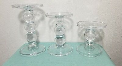 Gold Canyon Candles 3 Crystal Glass Candleholders Candlestands Decor Used Once