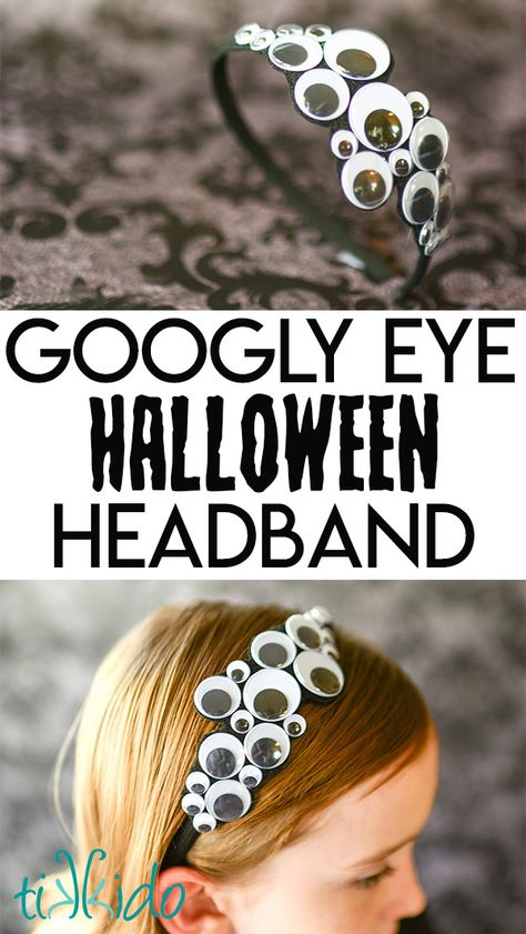 Make and easy DIY Halloween headband with just some googly eyes and felt. This googly eye Halloween headband is so simple to make and so much fun to wear! Each October, my friend Keisha from Cupcake. Halloween Tags, Casa Halloween, Halloween Crafts For Kids, Diy Halloween Decorations, Holidays Halloween, Fall Crafts, Halloween Stuff, Vintage Halloween, Diy Halloween Headbands