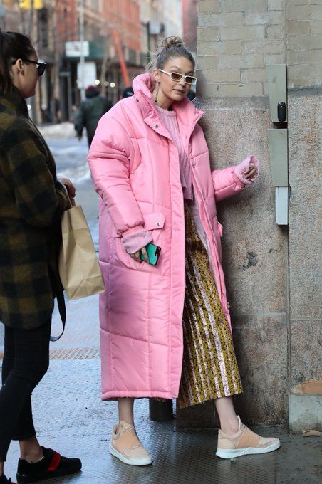 pink pufy coat and cold pants