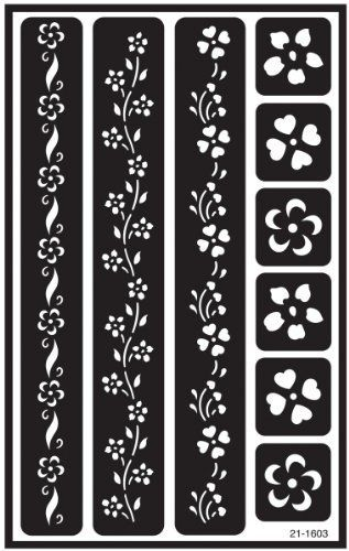 Armor Etch Over N Over Stencil Floral Borders Armor Www Amazon Com In 2020 Glass Etching Stencils Stencils Flower Border