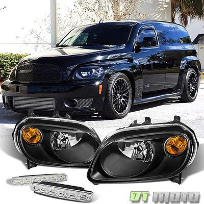 Black For 2006 2011 Chevy Hhr Replacement Amber Single Headlights Smd Bumper Fog Chevy Hhr Chevy Accessories Chevy