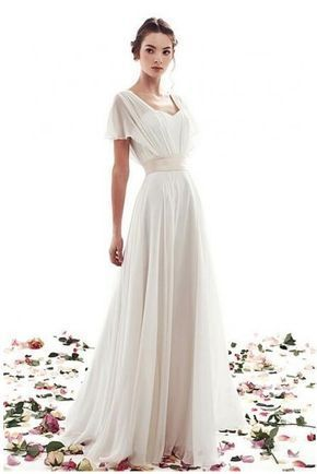 Lace Up Simple Short Sleeves A Line Vintage Wedding Dress From Shedress Vintage Wedding Dress Boho Wedding Dress Chiffon A Line Wedding Dress