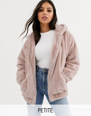 New Look Petite Fur Hooded Bomber In Pink Asos Petite Faux Fur Coat Womens Faux Fur Coat Bomber Outfit