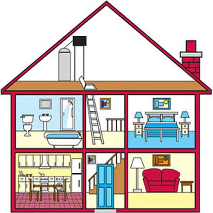 Plano De Una Casa Con Sus Partes En Ingles Croquis De Una Casa Casa En Ingles Partes De La Casa