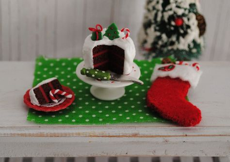 Miniature Christmas Cake In Red And Green A by LittleThingsByAnna