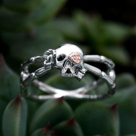 VANCARO Punk Style Skull And Bone Sterling Silver Twist Ring