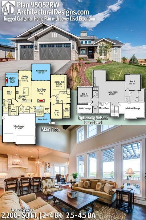 Plan 95052rw Craftsman Home Plan With Lower Level Expansion Potential In 2021 Craftsman House Plans House Plans Craftsman House