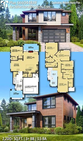Plan 666044raf Captivating Modern House Plan With Second Level Master Architectural Designs Architectural Design House Plans Modern House Plan Modern House