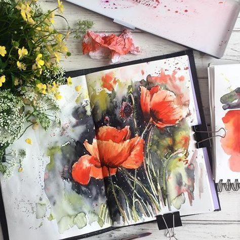58 Trendy Art Sketchbook Ideas Flowers Water Colors In 2020