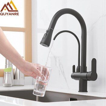 Quyanre Matte Black Filtered Crane For Kitchen Pull Out Spray 360 Rotation Water Filter Tap Three Ways With Images Shower Faucet Sets Kitchen Faucet Chrome Kitchen Faucet