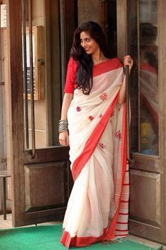 White and red saree - blouses, red, sleeveless, styles, long sleeve, styles blouse *ad
