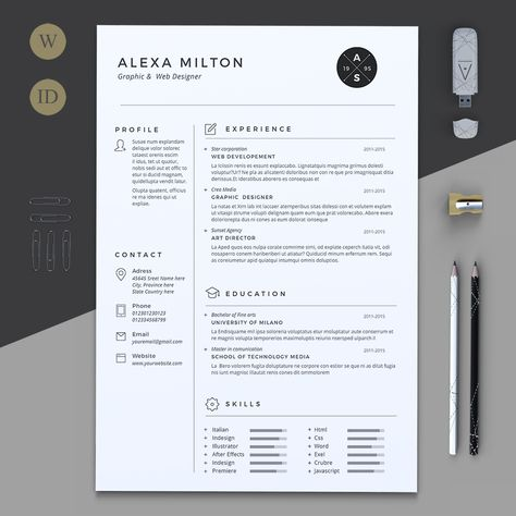 2 Pages Resume by Estartshop on @creativemarket GraphicArt - fonts for resume