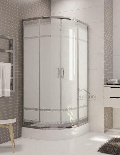 Duschkabine Dusche Duschwand Eckeinstieg Milchglas 80 X 80 190 R55