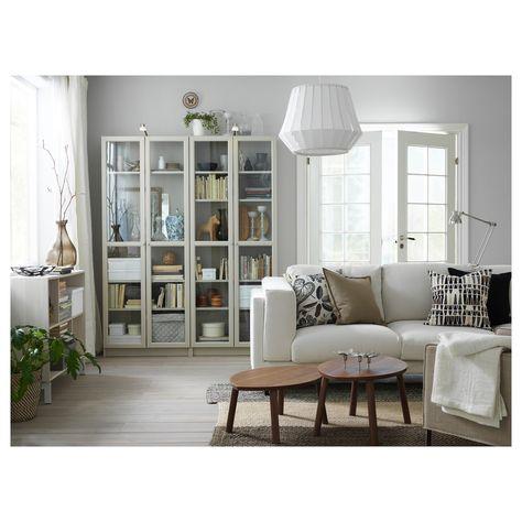 Ikea Ante Vetro Billy.Billy Libreria Con Ante A Vetro Beige 80x30x202 Cm Soggiorno