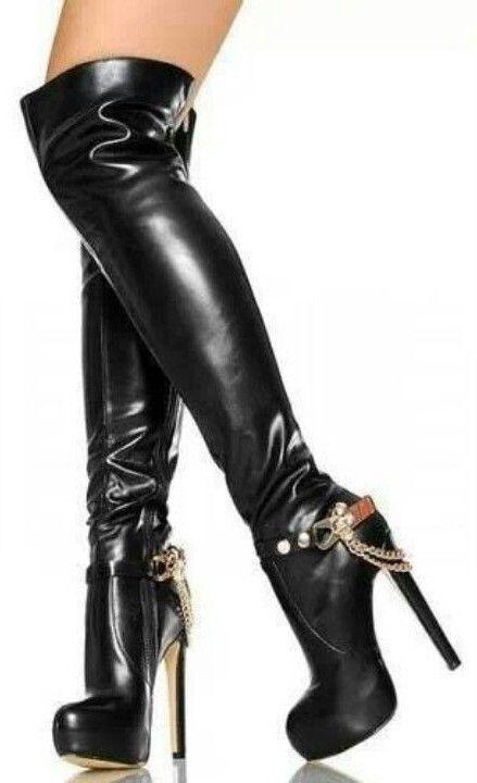 botas de cuero negras mujer (con imágenes) | Botas de cuero