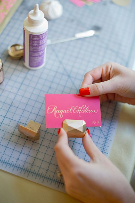DIY Gem Escort Card Holders http://ruffledblog.com/diy-gem-escort-card-holders #diyproject #escortcards