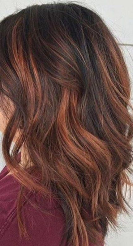 61 Ideas For Hair Copper Dark Brunettes Hair Brownhairbalayage Red Highlights In Brown Hair Brown Hair Balayage Baylage Hair