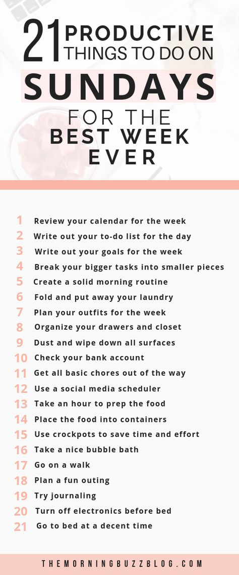 Tired of falling behind during the week? Your week doesn't have to be stressful. Here are 21 things you can do on Sunday to maximize your time and skyocket your productivity. Set your week up for success with these Sunday habits. #sunday #productive