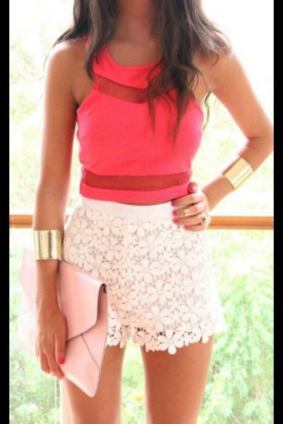 lace shorts with a bright top