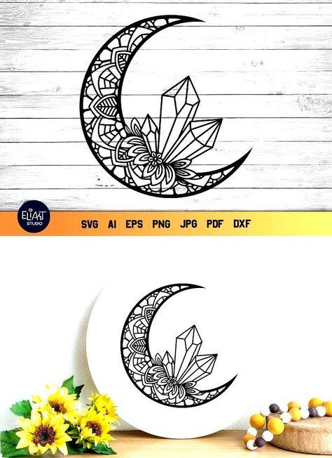 Crystal SVG   Moon SVG   Mandala SVG Floral Moon (1410269)   Cut Files   Design Bundles