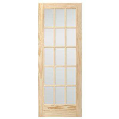 32 In X 80 In 15 Lite Glass Unfinished Pine Solid Core Interior Door Slab Interior Door With Window Solid Core Interior Doors Doors Interior