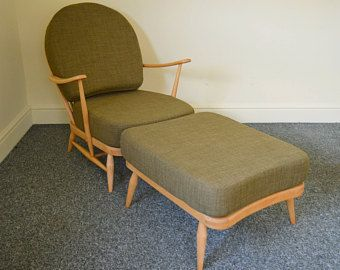 Vintage Ercol 203 Armchair With Designer Print Linen Covers Etsy Ercol Ercol Armchair Refinished Chairs