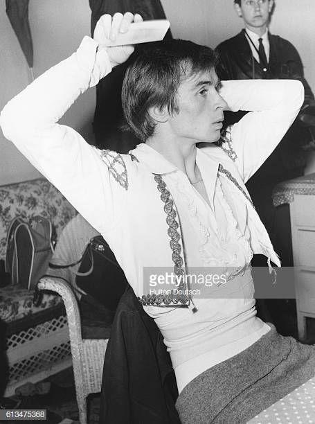 Russian dancer Rudolf Nureyev in his dressing room, circa